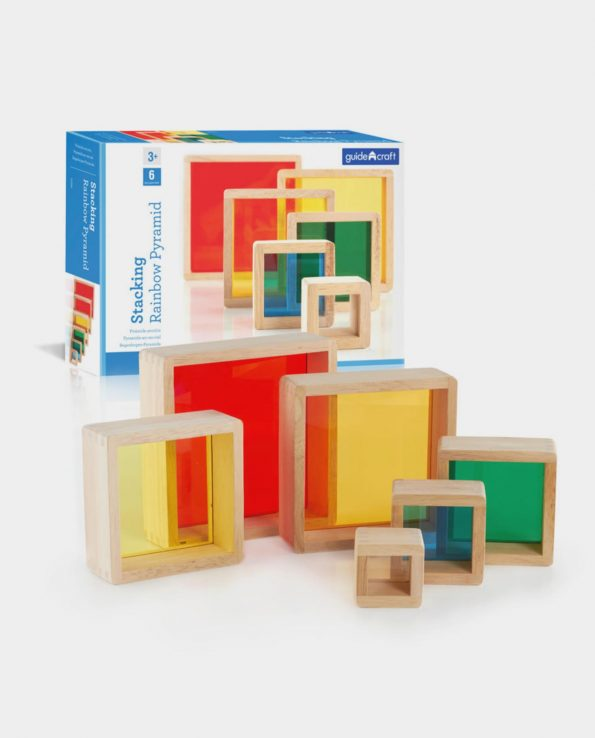 bloques arcoiris pirámide para mesa de luz