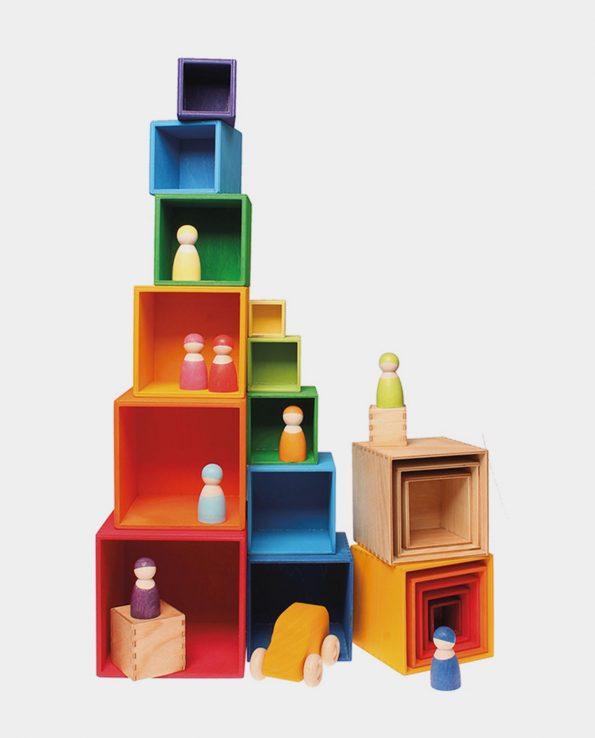 Juego de cubos de colores tamaño grande de la marca Grimm's