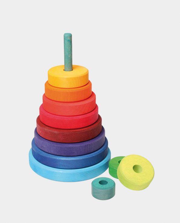 torre de discos de colores de la marca grimm's