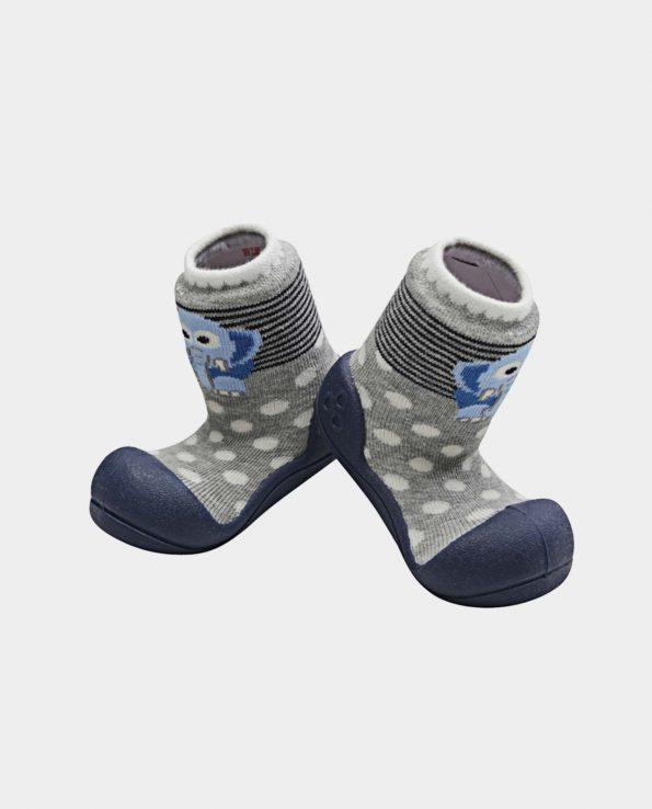 Zapatillas de bebé de la marca Attipas modelo zoo elefante gris topos