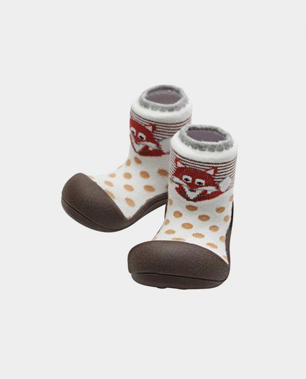 Zapatillas de bebé de la marca Attipas modelo zoo zorro brown