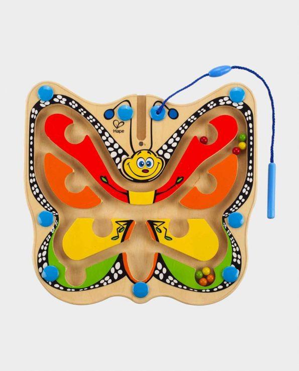 Juego de habilidad Laberinto Magnético con forma de mariposa