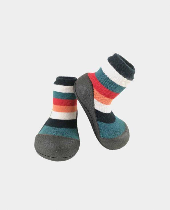 zapatos para bebe cómodo Attipas rainbow black