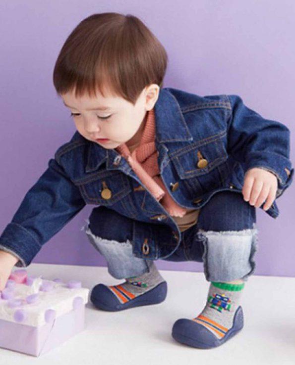 zapatos para bebe cómodo Attipas robot navy