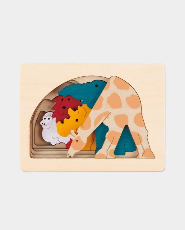 Puzzle encajable y apilable para bebés de animales salvajes de la pradera de Hape