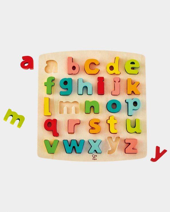Puzzle de letras minúsculas de madera encajable de hape