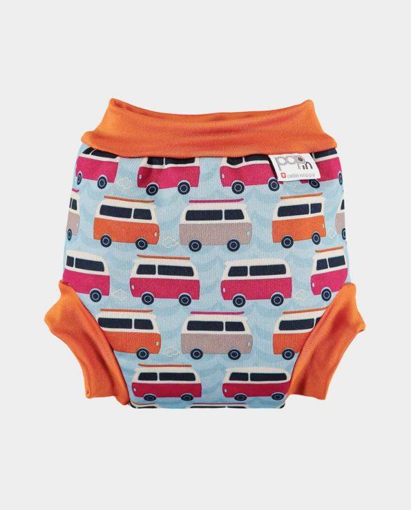 Bañador para niños y bebés ecológico de la marca pop in con estampado de campervan azul