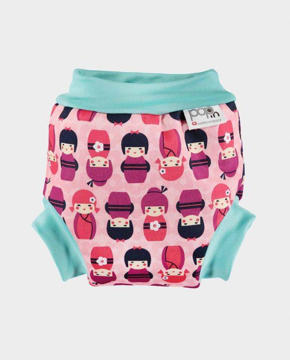 Bañador para niños y bebés ecológico de la marca pop in con estampado de kokeshi