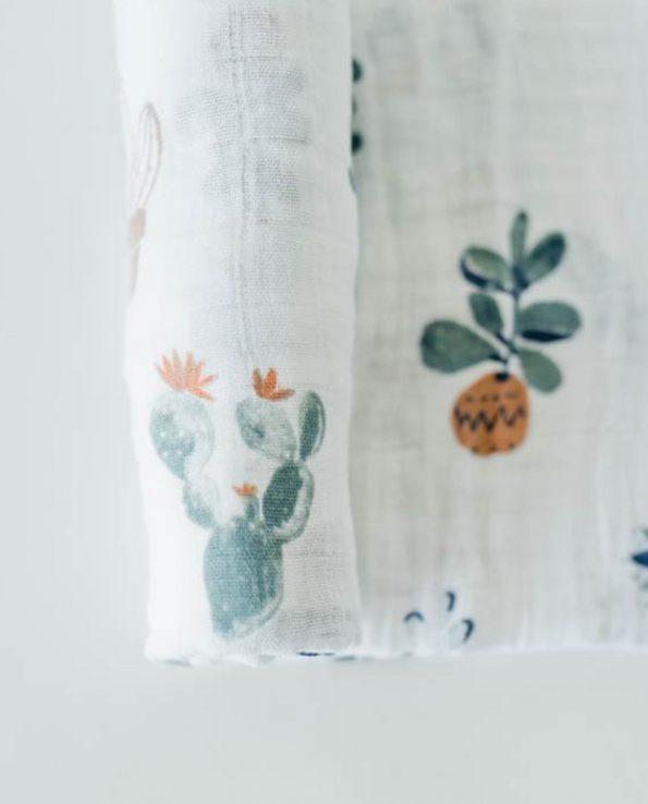 Muselina de algodón para bebés con estampado de plantas 120x120cm