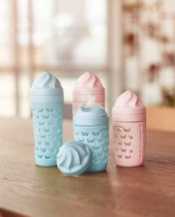 Biberón 220 ml Herobility Rosa de cristal para bebes ecologico