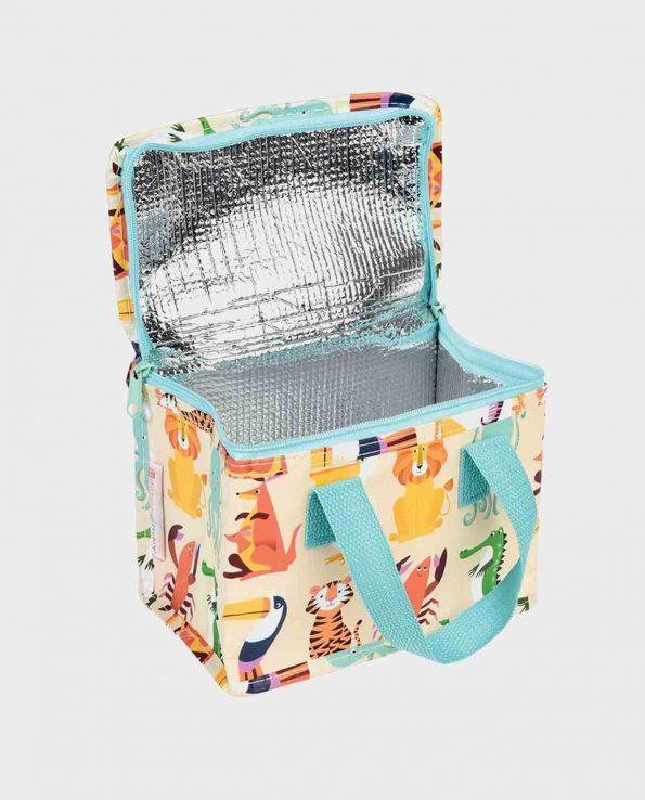 Bolsa térmica con cremallera estampada de animales beige