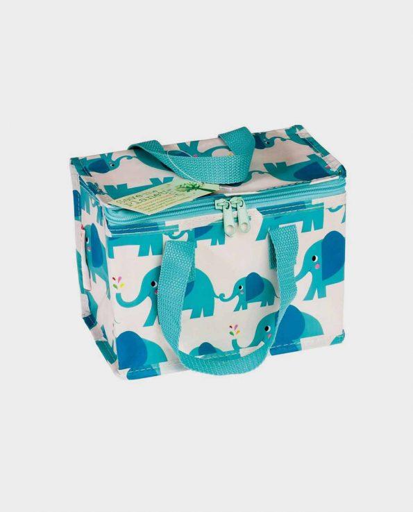 Bolsa térmica con cremallera estampada de elefantes