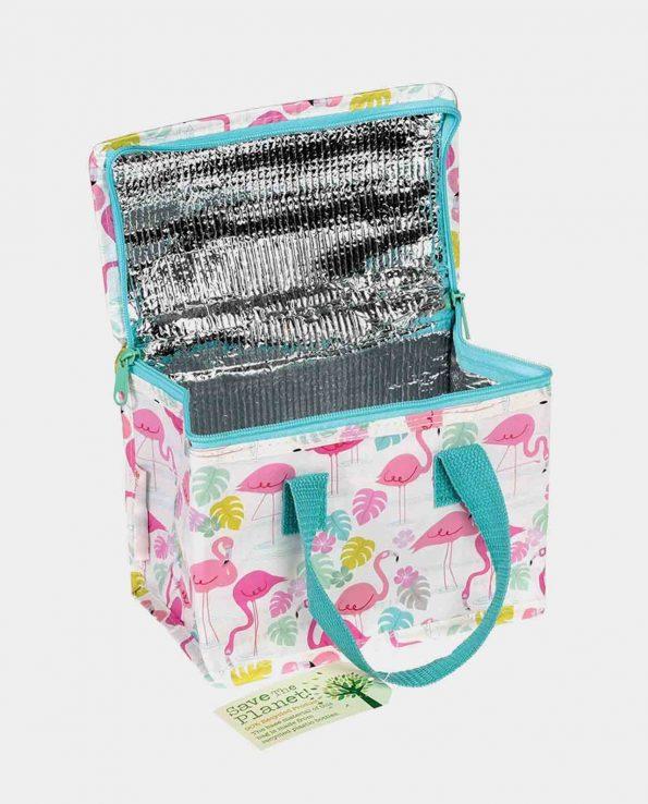 Bolsa térmica con cremallera estampada con flamencos