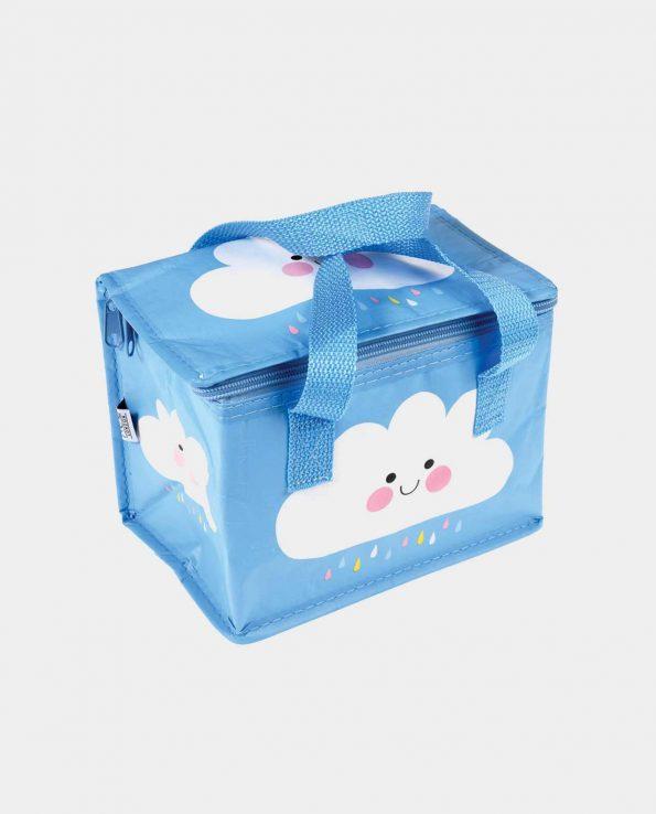 Bolsa térmica con cremallera estampada con nubes con fondo azul
