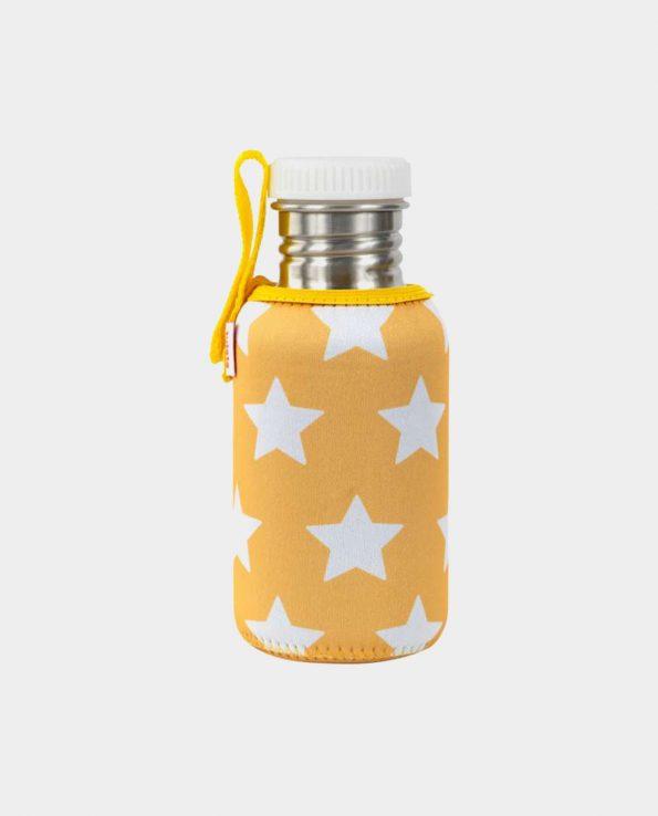 Botella acero inoxidable para niños con funda de estrellas AMARILLA