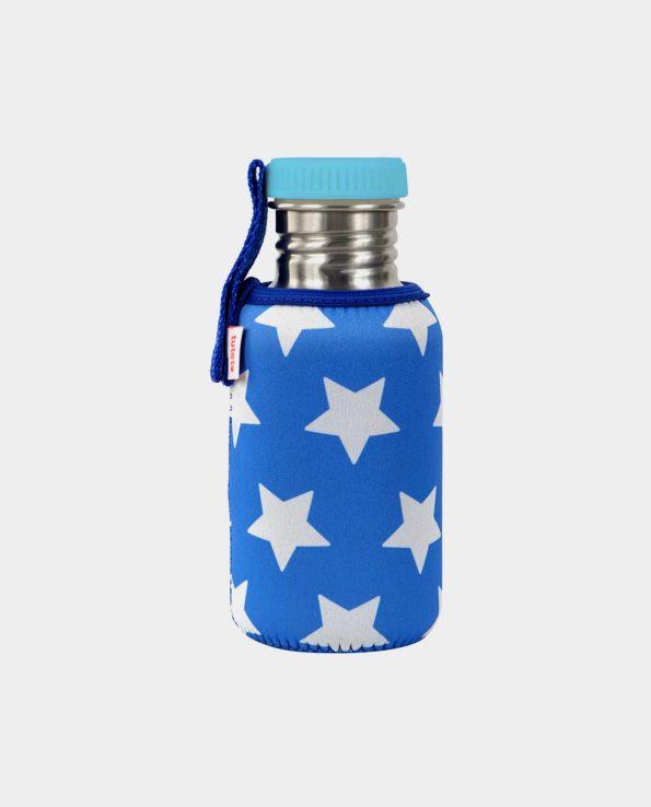 Botella acero inoxidable para niños con funda de estrellas azul marino