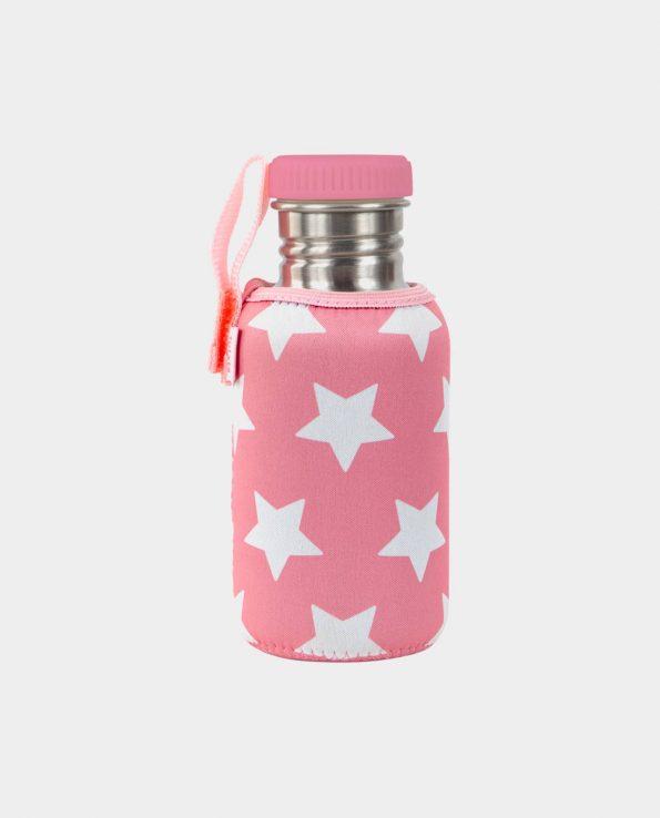 Botella acero inoxidable para niños con funda de estrellas rosa