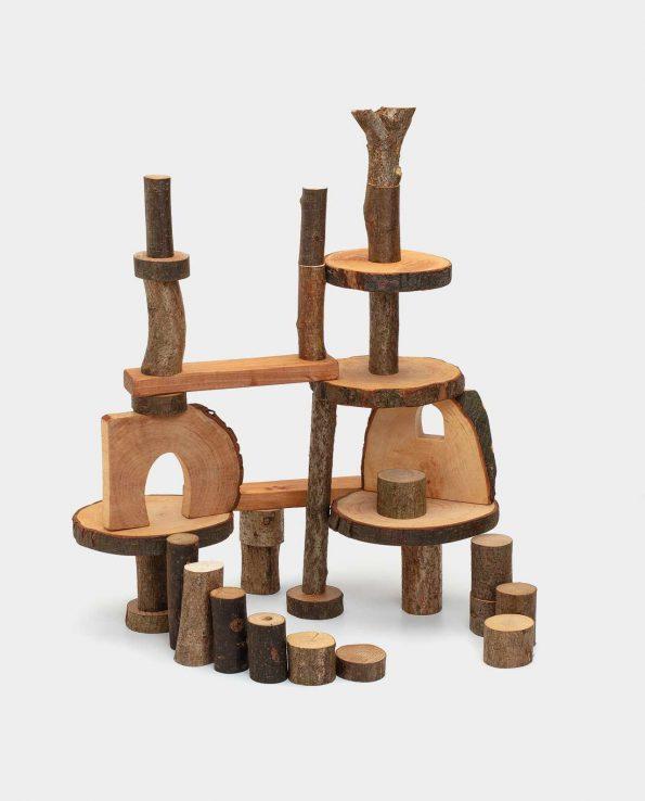 Juego de construcción para niños con madera natural Eco Blocks