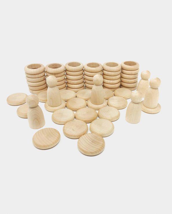 Nins anillas y monedas madera natural de Grapat