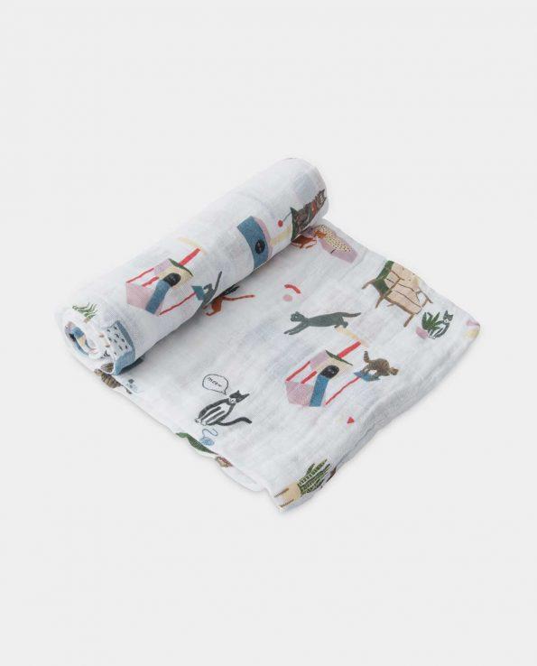 Muselina de algodón Miau 120×120