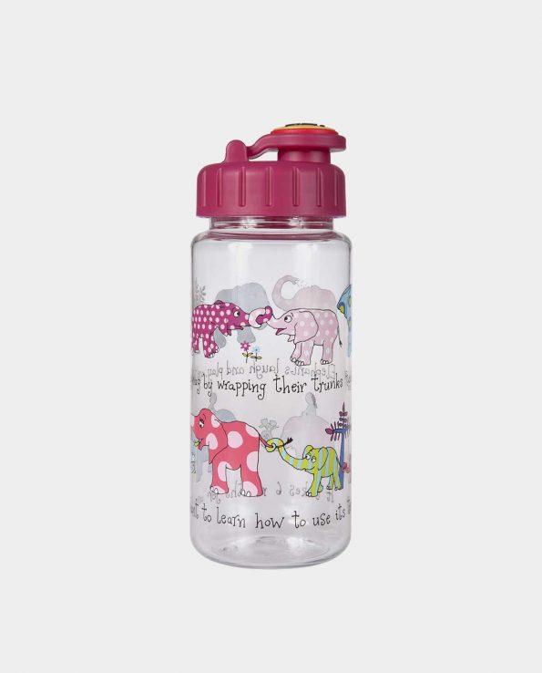 Botella de la marca Tyrrel Katz con pajita modelo elefantes