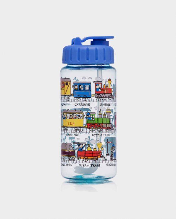 Botella de la marca Tyrrel Katz con pajita modelo trenes