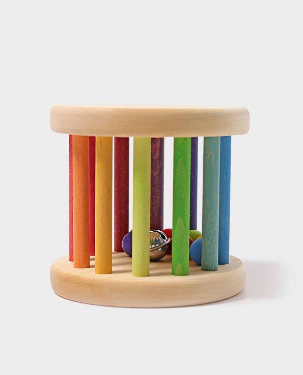 Rainbow Rolling Wheel. Rodari de madera arco iris con bolas y cascabeles de Grimm's.