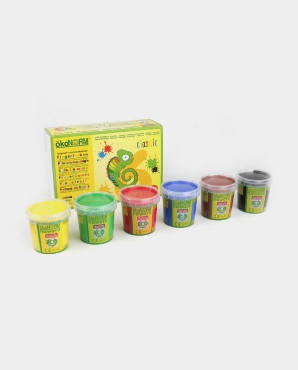 Pintura de dedos para niños natural y ecológica 6 colores primarios classic de Okonorm