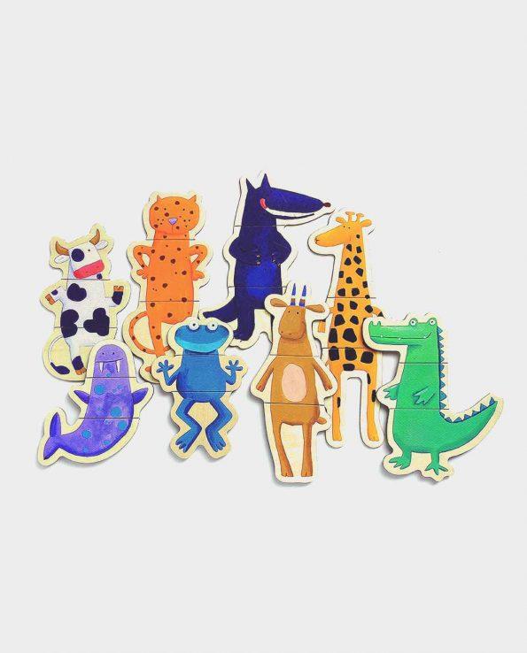 Puzzle magnético de madera con animales