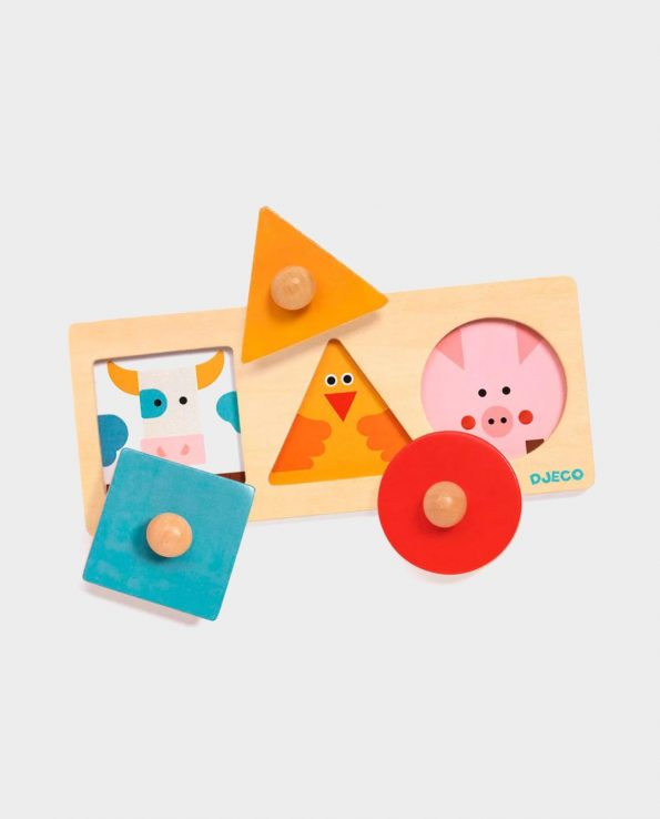 Forma Basic juego para bebes encajable con animales de madera de Djeco