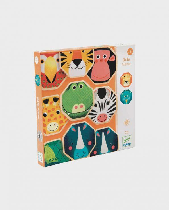 Octo memo juego para niños de memoria de madera con animales de Djeco
