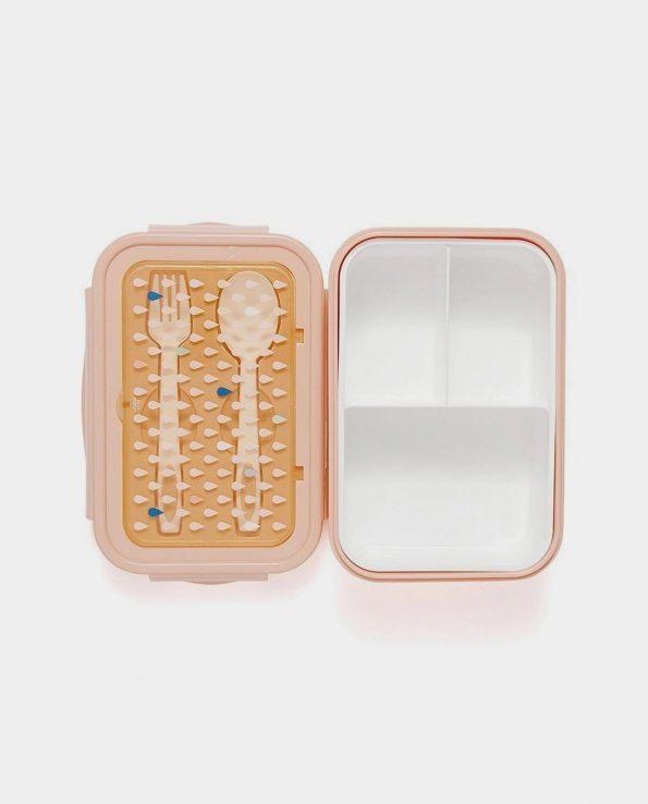 Fiambrera para niños con cubiertos Drops gotas Melocotón