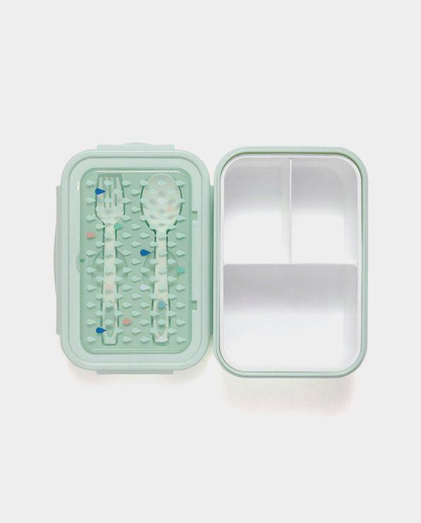 Fiambrera para niños con cubiertos Drops gotas verde