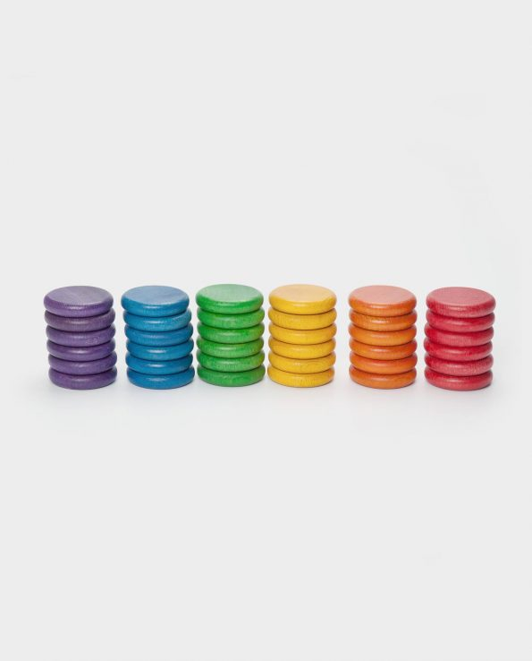 36 monedas de madera de Grapat Montessori Nins