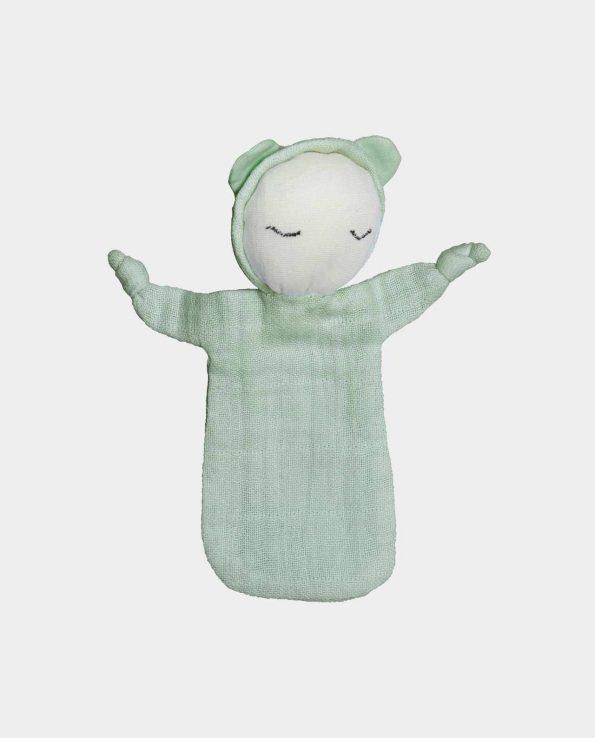 Muñeco de trapo para bebés mint de fabelab