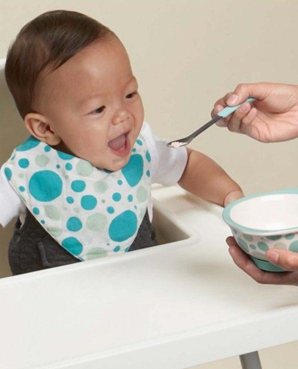 Set 3 cucharas acero inoxidable blue azul para bebés Sugarbooger