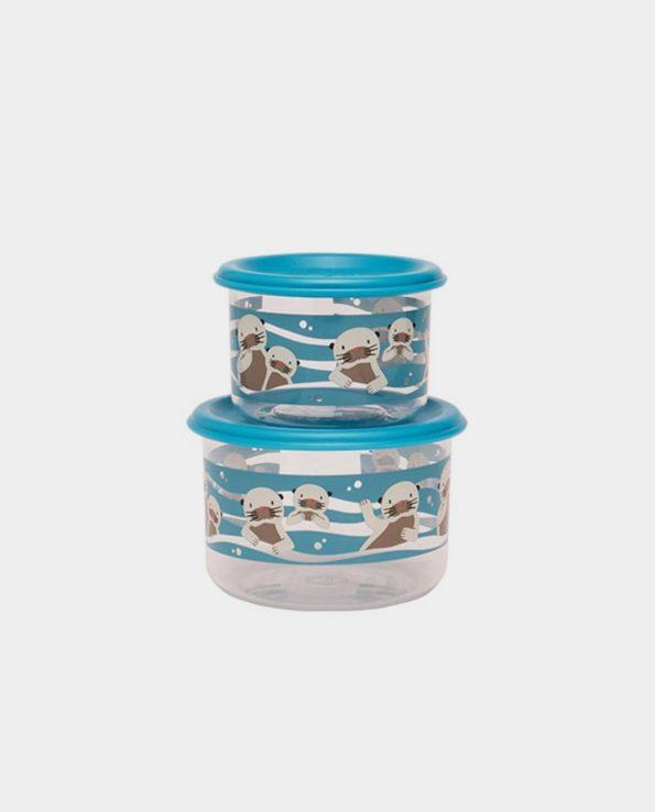 Set de merienda de dos tuppers de cristal fiambrera cristal para bebe y niño