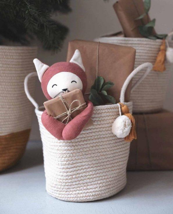 Peluche sonajero zorro Fox de Fabelab de algodón para bebés
