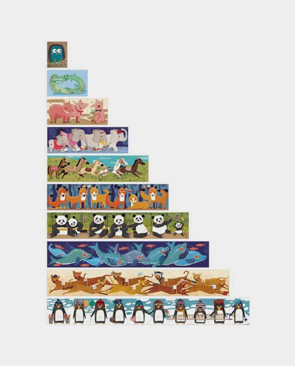 Puzzle progresivo de 55 piezas para niños 10 pingüinos de Londji