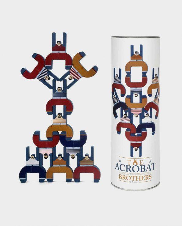 Juego de equilibrio con acróbatas de madera y cartón The Acrobat Brothers del circo de Londji