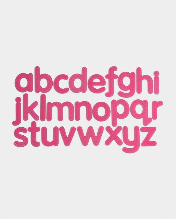 Letras de silicona translúcidas de color rosa para la mesa de luz de Tickit