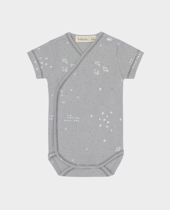 Body manga corta Clic Mini para bebé gris Bang
