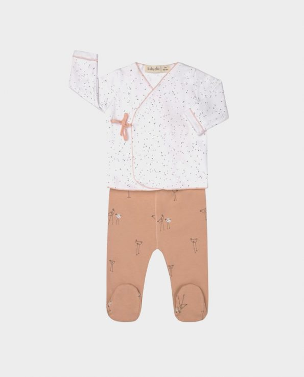 Jubón y polaina primera puesta de bebé estilo kimono color salmon de Clic Mini