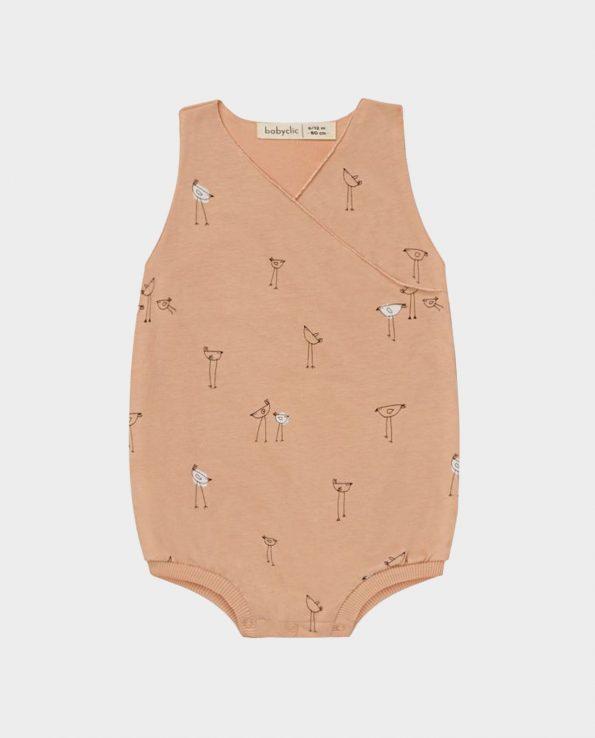 Clic Mini Pelele Corto 100% algodón para niño Piu Salmón