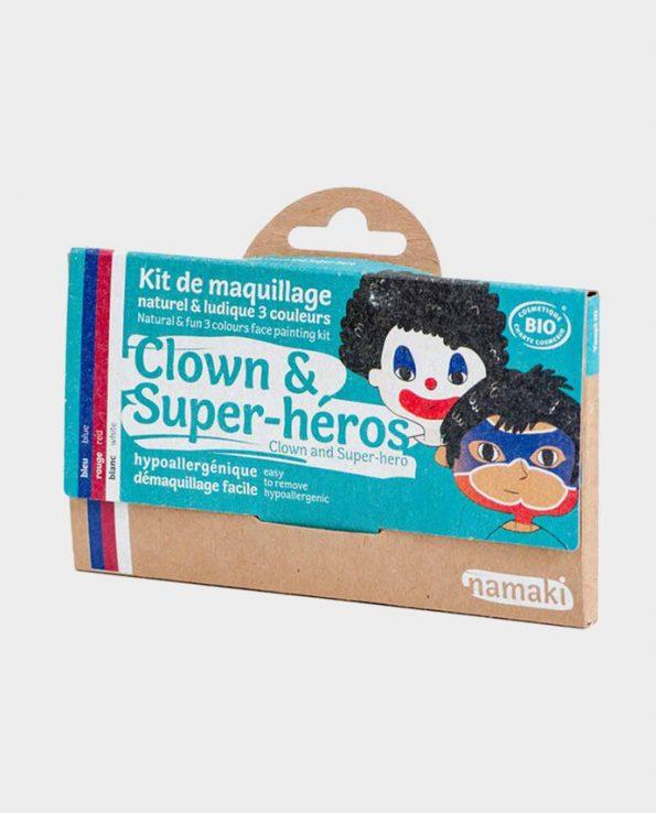 Kit de Maquillaje para niños ecológicos sin tóxicos Payaso y Superhéroe Namaki