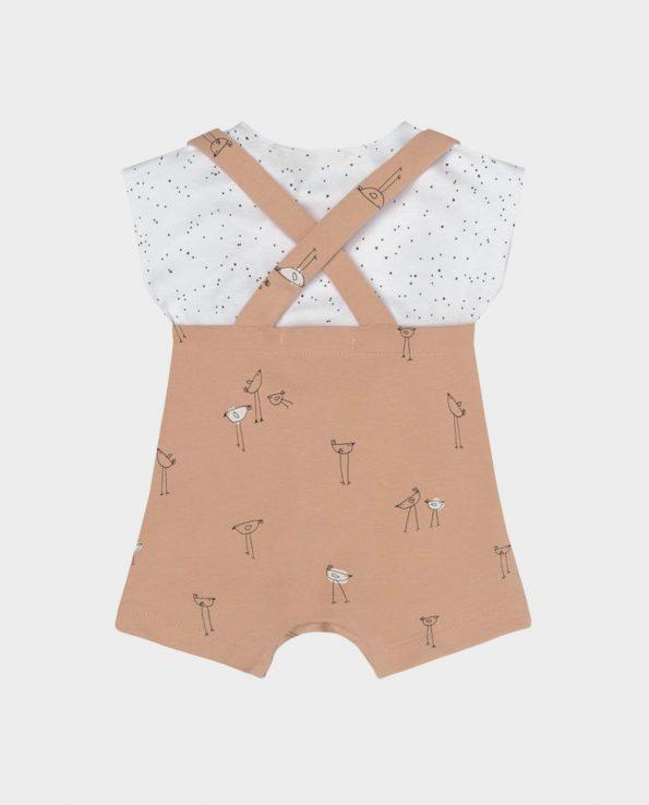 Peto + Camiseta Piu Salmón Clic Mini