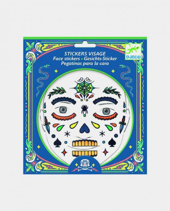 Set de pegatinas para la cara para niños ecológicas sin tóxicos Djeco Calavera
