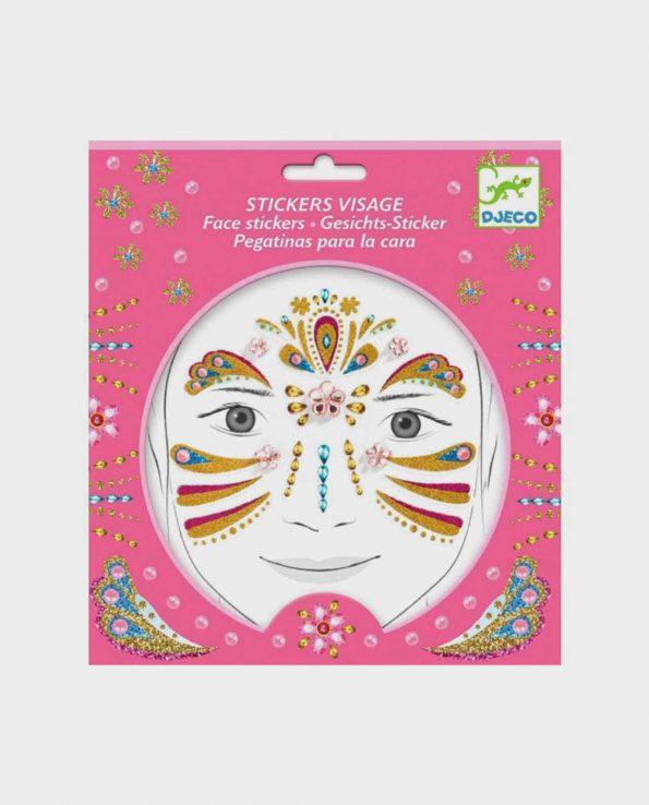 Set de pegatinas para la cara para niños ecológicas sin tóxicos Djeco Princesa Dorado