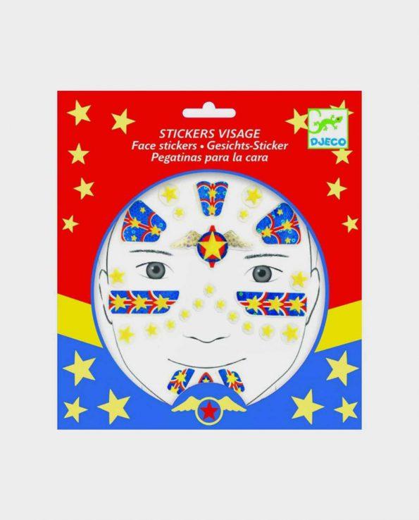 Set de pegatinas para la cara para niños ecológicas sin tóxicos Djeco Superhéroe