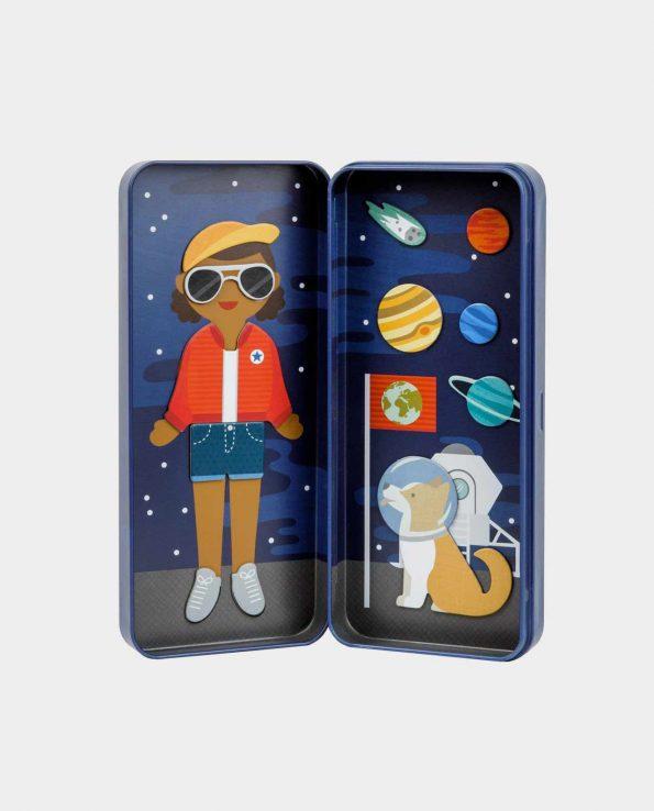 Chica astronauta estuche magnético juguete para niños
